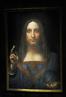 NEW YORK, NY - NOVEMBER 05: Painting by Leonardo da Vinci entitled 'Salvator Mundi' before it is auctioned in New York on November 15, at Christies. The painting is the last Da Vinci in private hands and is expected to fetch around 100,000,000 USD at Christies on November 5, 2017 in New York City<br /> <br /> <br /> Transmission Ref: MNC1<br /> <br /> Credit: Hoo-Me.com / MediaPunch