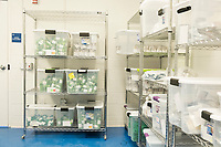 """Packaged cannabis products ready for distribution and sale are seen in the """"vault"""" at the production and packaging facility for Garden Remedies, a medical cannabis producer, in Fitchburg, Massachusetts, USA, on Fri., Feb. 22, 2019."""