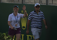 Kate Whyte and Alan Lowry walking to the 17th green during the preview for the DP World Tour Championship at the Earth course,  Jumeirah Golf Estates in Dubai, UAE,  18/11/2015.<br /> Picture: Golffile | Thos Caffrey<br /> <br /> All photo usage must carry mandatory copyright credit (&copy; Golffile | Thos Caffrey)