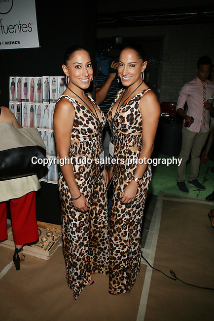 Lulu and Lala from Latina Magazine Backstage at Daisy Fuentes Spring/Summer 2014 Fashion Show Held at Eybeam, NY