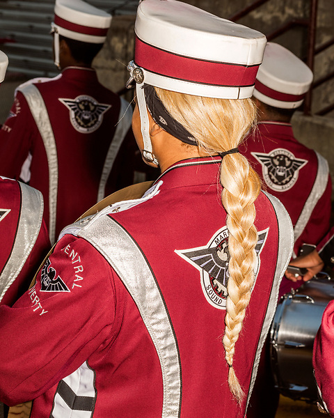 September 21, 2017. Durham, North Carolina.<br /> <br /> North Carolina Central University Sound Machine Marching Band prepares to take the field to open the game. <br /> <br /> The NCCU Eagles won a home game against the the South Carolina State Bulldogs 33-28 at O'Kelly–Riddick Stadium.