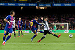 Lionel Messi of FC Barcelona (L) in action against Jeison Fabian Murillo of Valencia CF (R) during the Copa Del Rey 2017-18 match between FC Barcelona and Valencia CF at Camp Nou Stadium on 01 February 2018 in Barcelona, Spain. Photo by Vicens Gimenez / Power Sport Images