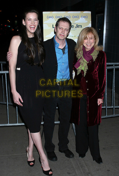 "LIV TYLER, STEVE BUSCEMI & MARY KAY PLACE.""Lonesome Jim"" New York Screening at Clearview Chelsea West, New York City, NY, USA..March 21st, 2006.Ref: IW.full length black dress suit purple scarf coat laughing.www.capitalpictures.com.sales@capitalpictures.com.©Capital Pictures"