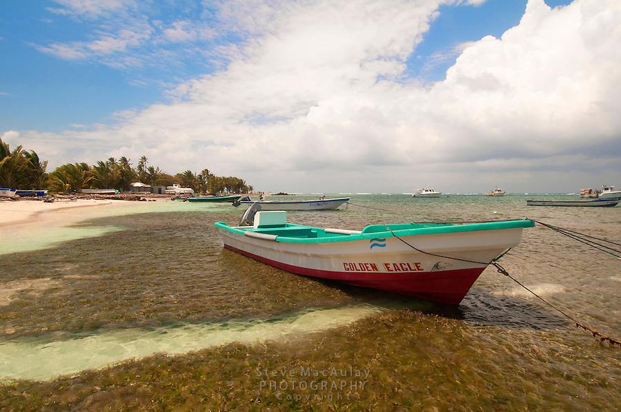Scenic beach view with panga / boats, Big Corn Island, Nicaragua