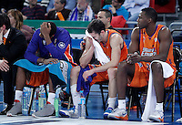 Valencia Basket Club's Larry Abia, Pau Ribas and Florent Pietrus dejected after the Spanish Basketball King's Cup Final match.February 07,2013. (ALTERPHOTOS/Acero)