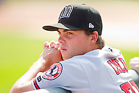 Drew Cisco (29) of the Billings Mustangs watches the action from the dugout during the Pioneer League game against the Grand Junction Rockies at Suplizio Field on July 25, 2012 in Grand Junction, Colorado.  The Mustangs defeated the Rockies 12-11 in 10 innings.  (Brian Westerholt/Four Seam Images)
