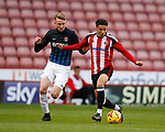 Alfie Doughty of Charlton in action with Tyler Smith of Sheffield Utd during the U18 Professional Development League 2 play off semi final match at  Bramall Lane, Sheffield. Picture date: April 21st 2017. Pic credit should read: Simon Bellis/Sportimage
