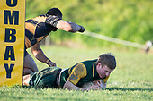 Josh Baverstock dives over next to the post to score 1 of Pukekohe's 2 tries. Counties Manukau Premier Club Rugby game between Bombay and Pukekohe, played at Bombay on Saturday June 30th 2018.<br /> Bombay won the game 24 - 14 after leading 24 - 0 at halftime.<br /> Bombay 24 - Sepuloni Taufa, Tulele Masoe, Chay Mackwood, Liam Daniela tries, Ki Anufe 2 conversions.<br /> Pukekohe Mitre 10 Mega 14 - Joshua Baverstock, Gregor Christie tries; Cody White 2 conversions.<br /> Photo by Richard Spranger.