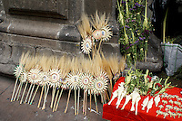 Palm Sunday crosses and other Easter religious symbols for sale outside a church in Mexico City