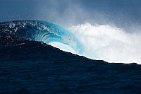 An empty wave breaks over a shallow reef pass not far from Teahupoo, Tahiti, (Friday May 15 2009.) Photo: joliphotos.com