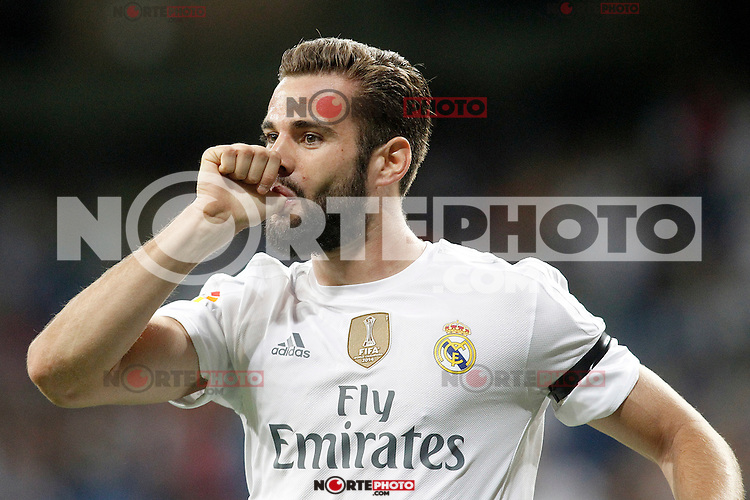 Real Madrid's Nacho Fernandez celebrates goal during XXXVI Santiago Bernabeu Trophy. August 18,2015. (ALTERPHOTOS/Acero)