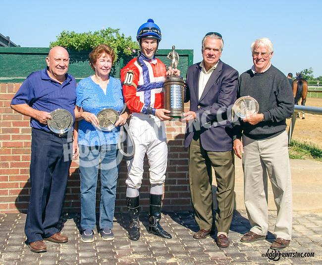 Ebreeq winning The Longines Gentlemans International Fegentri race at Delaware Park on 9/14/15 - Mr. Phillip Scott Sonseteby aboard
