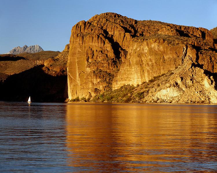 Sunset light on the cliffs above Canyon Lake; Tonto National Forest, AZ