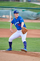 Ogden Raptors starting pitcher Kevin Malisheski (28) delivers a pitch to the plate against the Grand Junction Rockies at Lindquist Field on July 23, 2019 in Ogden, Utah. The Raptors defeated the Rockies 11-4. (Stephen Smith/Four Seam Images)
