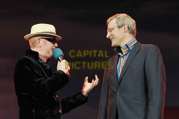 Chris Evans & Jeremy Vine.Presenting at BBC Radio 2 Live in Hyde Park, London, England..September 11th, 2011.stage concert live gig performance music half length microphone grey gray suit glasses stripe shirt black velvet beige hat sunglasses shades hand profile .CAP/MAR.© Martin Harris/Capital Pictures.