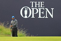 Tiger Woods (USA) on the 18th during 1st round of the 148th Open Championship, Royal Portrush golf club, Portrush, Antrim, Northern Ireland. 18/07/2019.<br /> Picture Thos Caffrey / Golffile.ie<br /> <br /> All photo usage must carry mandatory copyright credit (© Golffile | Thos Caffrey)