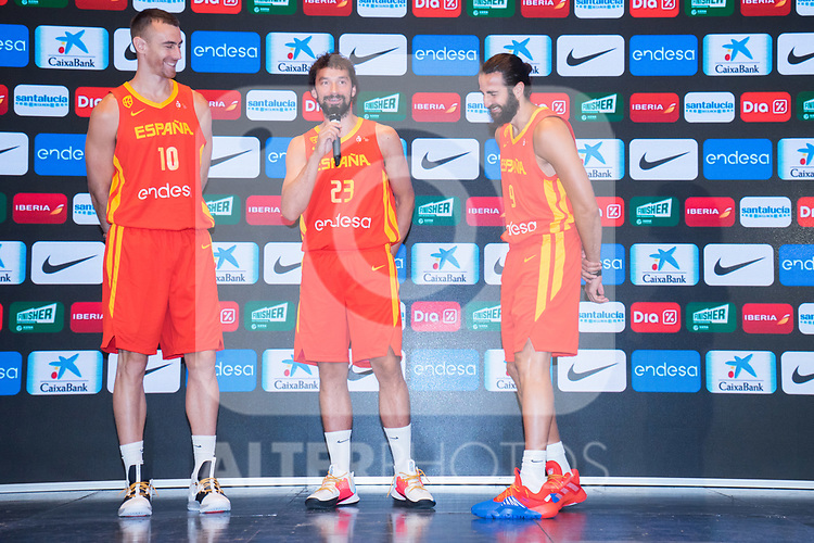 Players Victor Claver (l), Sergio Llull (c) and Ricky Rubio (r) laugh during the official presentation of Spanish National Team of Basketball.  July 24, 2019. (ALTERPHOTOS/Francis Gonzalez)