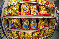 A display of tasty house brand potato chips are seen in a supermarket in New York on Thursday, August 29, 2013.  (© Richard B. Levine)