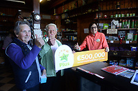 21-9-2017:  Mary Murphy, Post Mistress, Rerrin Post Office on Bere Island in County Cork pictured celebrating with customers Brenda O'Sullivan and Bernadette O'Sullivan after she sold a 500,000 Euro Millions Plus ticket on Thursday.<br /> Photo: Don MacMonagle<br /> <br /> Issued on behlf of The National Lottery