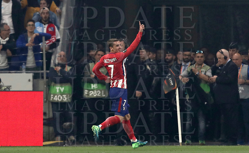 Club Atletico de Madrid's Antoine Griezmann celebrates after scoring his first goal during the UEFA Europa League final football match between Olympique de Marseille and Club Atletico de Madrid at the Groupama Stadium in Decines-Charpieu, near Lyon, France, May 16, 2018.<br /> UPDATE IMAGES PRESS/Isabella Bonotto