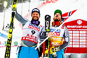 9th February 2019, ARE, Sweden; Aksel Lund Svindal and Kjetil Jansrud of Norway celebrate on the podium after the mens downhill during the FIS Alpine World Ski Championships on February 9, 2019 in Are.