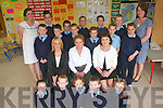 Pupils and staff along with members of the local community came together at Holymount National School in Rathmore for a day of celebration to mark the official retirement of principal Maura Hickie. .Front L-R Sarah Moynihan, Jake Mason, Natalie Mason, David O'Leary and Tiarna Dineen. .Middle L-R Teacher Juliette Cronin, Principal Maura Hickie and Mary Browne. .Third Row L-R Michael Murphy,Killian Cronin, PJ Mason, Adam Carroll, Jordan Mason and Aoife O'Donoghue..Back L-R new principal, Linda Deenehy, Rachael O'Donoghue, Arthur Moynihan, Mark O'Donoghue, John Christy Nagle, Daniel Moynihan and teacher Aoife Golden.