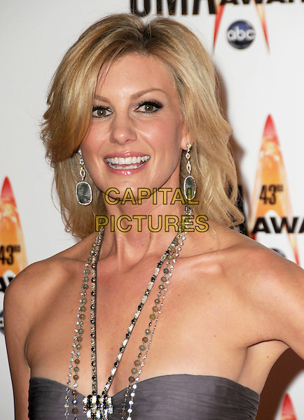FAITH HILL .Attending the 43rd Annual CMA Awards held at the Sommet Center, Nashville, Tennessee, USA, 11th November 2008..arrivals country music portrait headshot necklace earrings grey gray halterneck jewel encrusted straps beaded .CAP/ADM/GS.©George Shepherd/AdMedia/Capital Pictures.