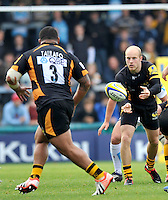High Wycombe, England. Joe Simpson of London Wasps in action during the Aviva Premiership match between London Wasps and Worcester Warriors at Adam Park on October 7, 2012 in High Wycombe, England.