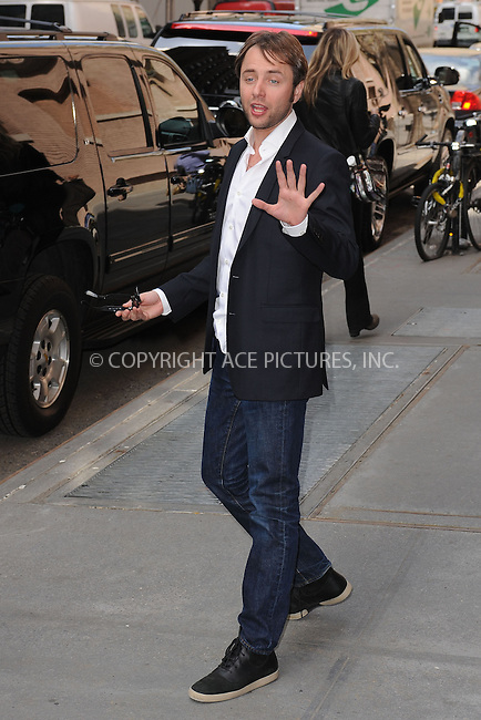 WWW.ACEPIXS.COM . . . . . .April 22, 2013...New York City....Vincent Kartheiser leaving a taping of the Katie Couric Show on April 22, 2013 in New York City. ....Please byline: KRISTIN CALLAHAN - WWW.ACEPIXS.COM.. . . . . . ..Ace Pictures, Inc: ..tel: (212) 243 8787 or (646) 769 0430..e-mail: info@acepixs.com..web: http://www.acepixs.com .