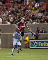 Real Salt Lake defender Nat Borchers (6) and Colorado Rapids forward Omar Cummings (14) battle for a head ball. Real Salt Lake tied the Colorado Rockies, 1-1, at Rio Tinto Stadium on June 6, 2009.
