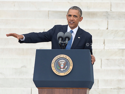 United States President Barack Obama makes remarks at the Let Freedom Ring ceremony on the steps of the Lincoln Memorial to commemorate the 50th Anniversary of the March on Washington for Jobs and Freedom.<br /> Credit: Ron Sachs / CNP