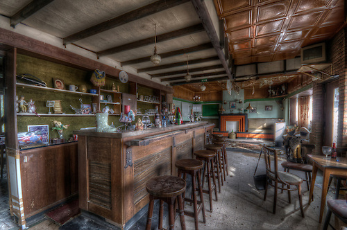 An old cafe bar in Belgium .