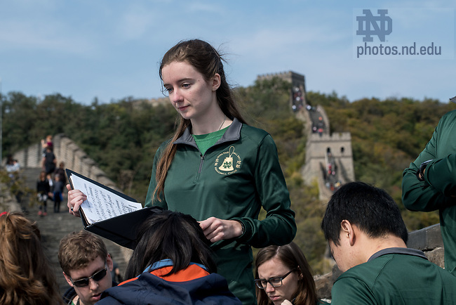 October 15, 2017; The Notre Dame Handbell choir visits and performs at the Great Wall of China. (Photo by Matt Cashore/University of Notre Dame)
