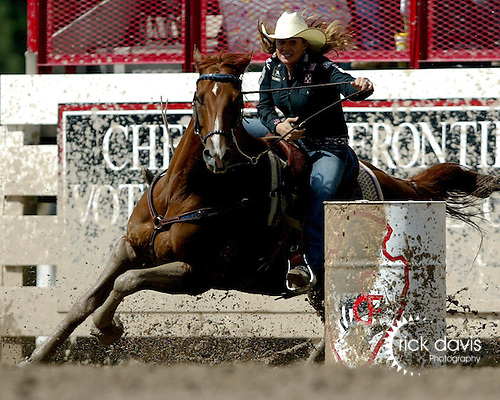 Despite the muddy conditions in Cheyenne for the short go, 3-time Wrangler National Finals Rodeo qualifier Brittany Pozzi-Pharr turned in a final round time of 17.46 seconds to win the 111th Cheyenne Frontier Days Rodeo Barrel Racing Championship on July 29, 2007.