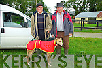 Glin Coursing Day, Sunday 06-10-2013.  Pictured left to right: Mossy Collins (trainer) and Paddy Sheenhan pictured with dog Portinard Rosie.
