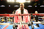MIAMI, FL - JULY 10: Jeff Lacy (pink short) in the ring fighting at the Iron Mike Judgement Day boxing match at AmericanAirlines Arena on July 10, 2014 in Miami, Florida. Savigne defeated Lacy in two rounds. (Photo by Johnny Louis/jlnphotography.com)