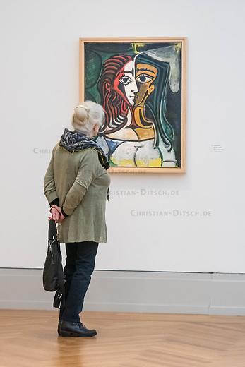"""Die Ausstellung """"Picasso. Das spaete Werk"""" wird vom 9. Maerz bis 16. Juni 2019 im Potsdamer Museum Barberini gezeigt.  Alle Leihgaben, Gemaelde, Keramiken, Skulpturen und Graphiken von Pablo Picasso (1881–1973), stammen aus der Sammlung Jacqueline Picasso (1927–1986).<br /> In der von Gastkurator Bernardo Laniado-Romero getroffenen Auswahl befinden sich zahlreiche Werke, die erstmalig in Deutschland gezeigt werden sowie einige, die zum ersten Mal in einem Museum praesentiert werden.<br /> Im Bild: """"Jacqueline"""", Oel auf Leinwand, vom 3. April 1960.<br /> 7.3.2019, Potsdam<br /> Copyright: Christian-Ditsch.de<br /> [Inhaltsveraendernde Manipulation des Fotos nur nach ausdruecklicher Genehmigung des Fotografen. Vereinbarungen ueber Abtretung von Persoenlichkeitsrechten/Model Release der abgebildeten Person/Personen liegen nicht vor. NO MODEL RELEASE! Nur fuer Redaktionelle Zwecke. Don't publish without copyright Christian-Ditsch.de, Veroeffentlichung nur mit Fotografennennung, sowie gegen Honorar, MwSt. und Beleg. Konto: I N G - D i B a, IBAN DE58500105175400192269, BIC INGDDEFFXXX, Kontakt: post@christian-ditsch.de<br /> Bei der Bearbeitung der Dateiinformationen darf die Urheberkennzeichnung in den EXIF- und  IPTC-Daten nicht entfernt werden, diese sind in digitalen Medien nach §95c UrhG rechtlich geschuetzt. Der Urhebervermerk wird gemaess §13 UrhG verlangt.]"""