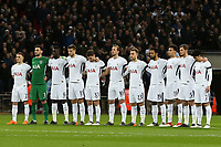 Spurs players observe a minutes silence before Tottenham Hotspur vs Juventus, UEFA Champions League Football at Wembley Stadium on 7th March 2018