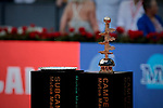 Mutua Madrid Open Masters final match trophy at Caja Magica in Madrid, Spain. Novak Djokovic beat Stefanos Tsitsipas. May 12, 2019. (ALTERPHOTOS/A. Perez Meca)