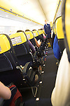 Seats and gangway on Ryanair flight