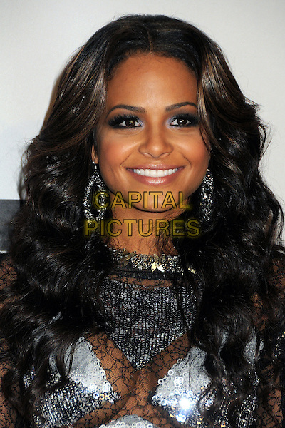 CHRISTINA MILIAN.The 2010 American Music Awards held at Nokia Theatre L.A. Live in Los Angeles, California USA..November 21st 2010.AMAs Pressroom press headshot portrait smiling silver black lace sheer see thru through sequined sequin make-up beauty.CAP/ADM/BP.©Byron Purvis/AdMedia/Capital Pictures.