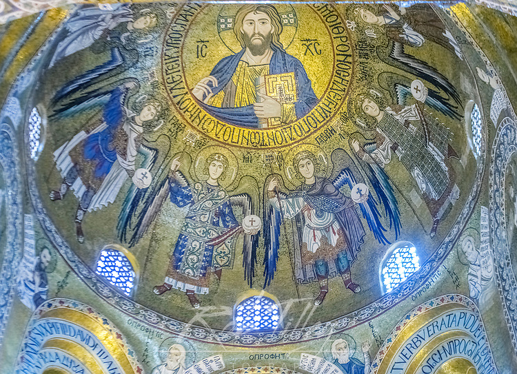 Europe, Italy, Sicily, Palermo, Palatine Chapel Dome Ceiling commissioned by Norman King Roger II and completed in the 12th Century