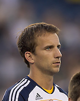 Los Angeles Galaxy midfielder Mike Magee (18). In a Major League Soccer (MLS) match, the Los Angeles Galaxy defeated the New England Revolution, 1-0, at Gillette Stadium on May 28, 2011.
