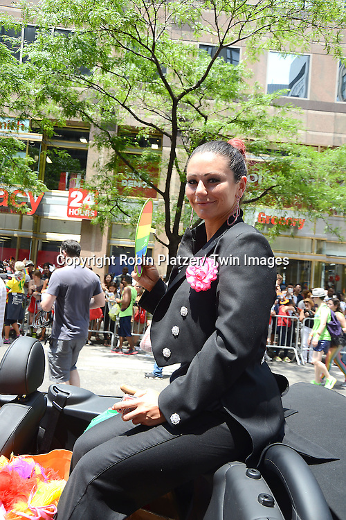 Jenni JWOW Farley  attends the NYC 2013 Gay Pride Parade on June 30, 2013 on Fifth Avenue in New York City. The 3 Grand Marshalls were Harry Belafonte, Edie Windsor and <br /> Earl Fowlkes.
