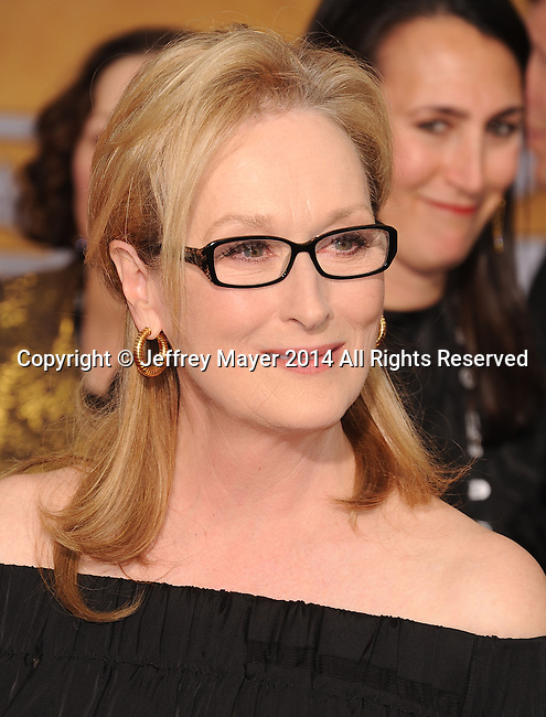LOS ANGELES, CA- JANUARY 18: Actress Meryl Streep arrives at the 20th Annual Screen Actors Guild Awards at The Shrine Auditorium on January 18, 2014 in Los Angeles, California.