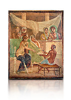 Detail of the Roman fresco wall painting of all the characters in the story of Admetus who, aided by Apollo made the Fates agree not to take Admetus on his 'death day' if he could find someone else to replace him, his wife, Alcestis, dies instead of Admetus but as she decends into the Underworld he discovers that he no longer wants to live without her, Pompeii House of the Tragic Poet , inv 9026, Naples National Archaeological Museum, white background