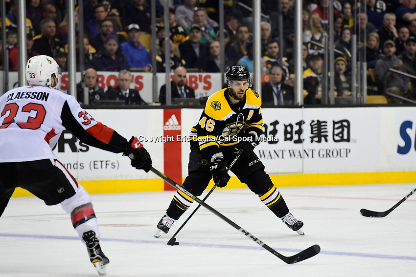 April 7, 2018: Boston Bruins center David Krejci (46) gains the blue line during the NHL game between the Ottawa Senators  and the Boston Bruins held at TD Garden, in Boston, Mass. Boston defeats Ottawa 5-2 Eric Canha/CSM
