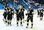 Stockholm 2015-09-30 Ishockey Hockeyallsvenskan AIK - Leksands IF :  <br /> AIK:s Malte Str&ouml;mwall med lagkamrater firar segern &ouml;ver Leksand efter matchen mellan AIK och Leksands IF <br /> (Foto: Kenta J&ouml;nsson) Nyckelord:  AIK Gnaget Hockeyallsvenskan Allsvenskan Hovet Johanneshov Isstadion Leksand LIF jubel gl&auml;dje lycka glad happy