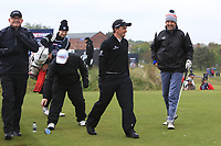 John Parrott (AM), Dennis Taylor (AM), Paul Dunne (IRL) and Mark Williams (AM) on the 10th tee during the Pro-Am of the Betfred British Masters 2019 at Hillside Golf Club, Southport, Lancashire, England. 08/05/19<br /> <br /> Picture: Thos Caffrey / Golffile<br /> <br /> All photos usage must carry mandatory copyright credit (© Golffile | Thos Caffrey)