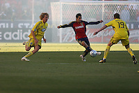 Columbus Crew Forward Steven Lenhart (32), Midfielder Robbie Rogers (19)and Real Salt Lake Defender Tony Beltran (2) in the Real Salt Lake 1-0 win over Columbus Crew in Game 1 of the Semi-Finals of the MLS Playoffs on October 31, 2009 at  Rio Tinto Stadium in Sandy, Utah